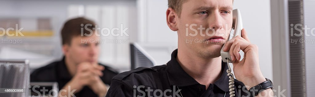 Police officer and sergeant stock photo