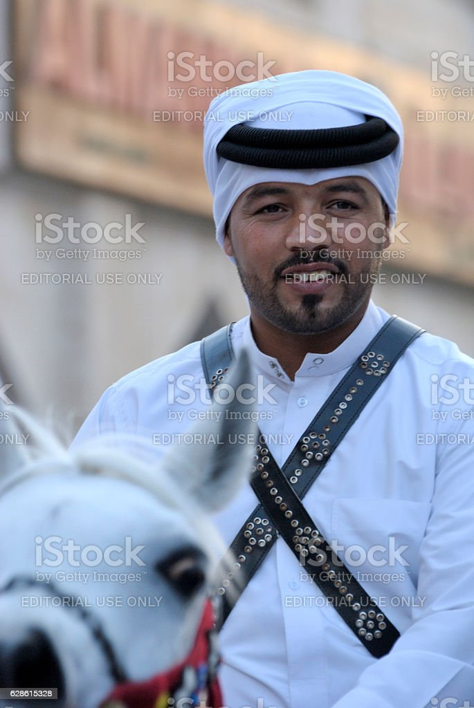 Police officer at Souq Waqif market in Doha, Qatar stock photo