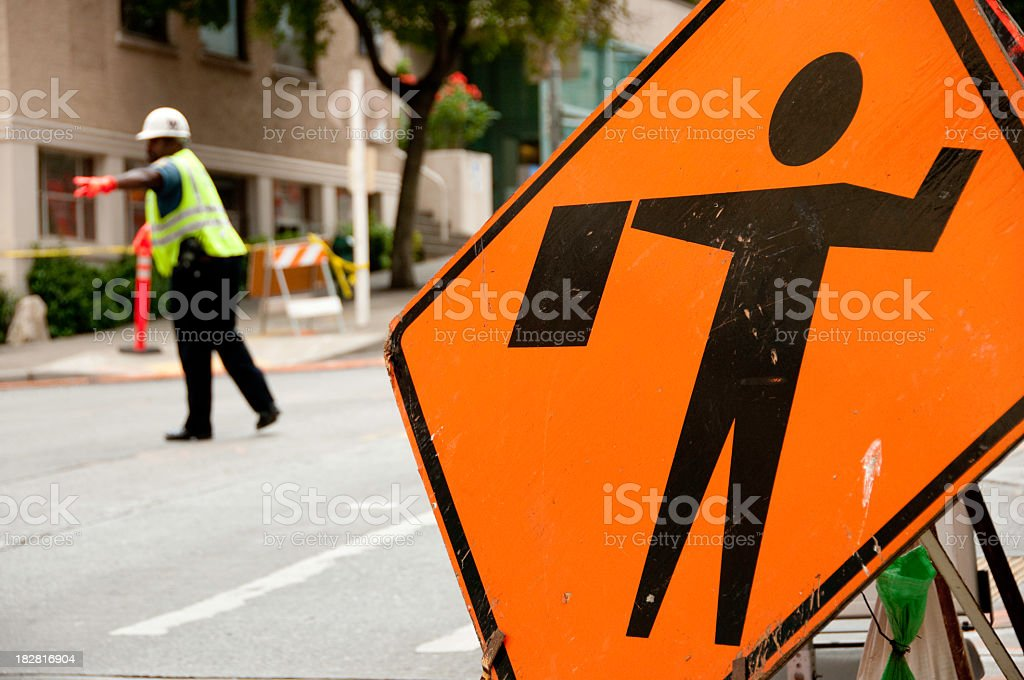 Police officer directing traffic royalty-free stock photo