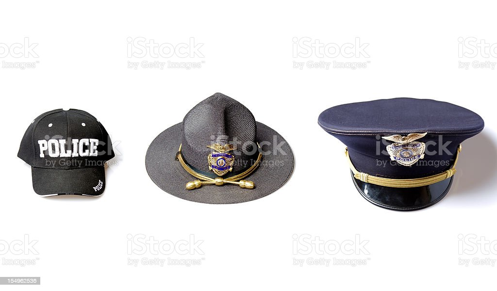 Police officer hat selection stock photo