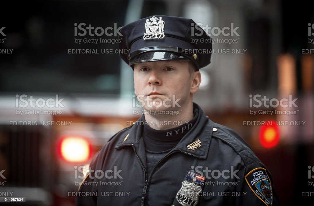 NYPD Police officer in NYC stock photo