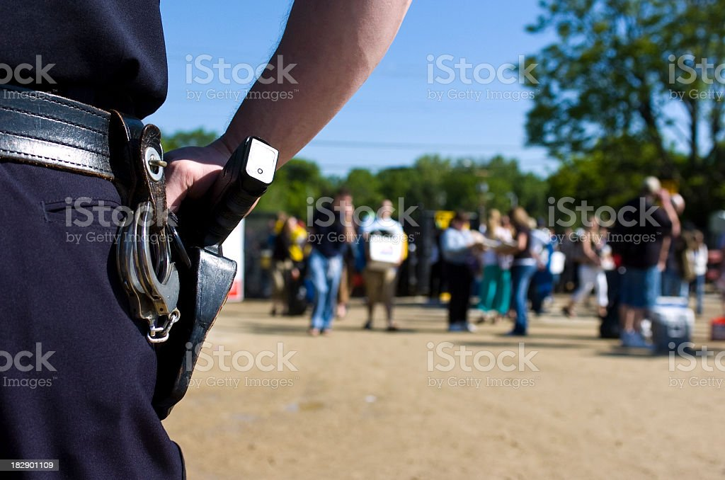 Police Officer on crowd control stock photo