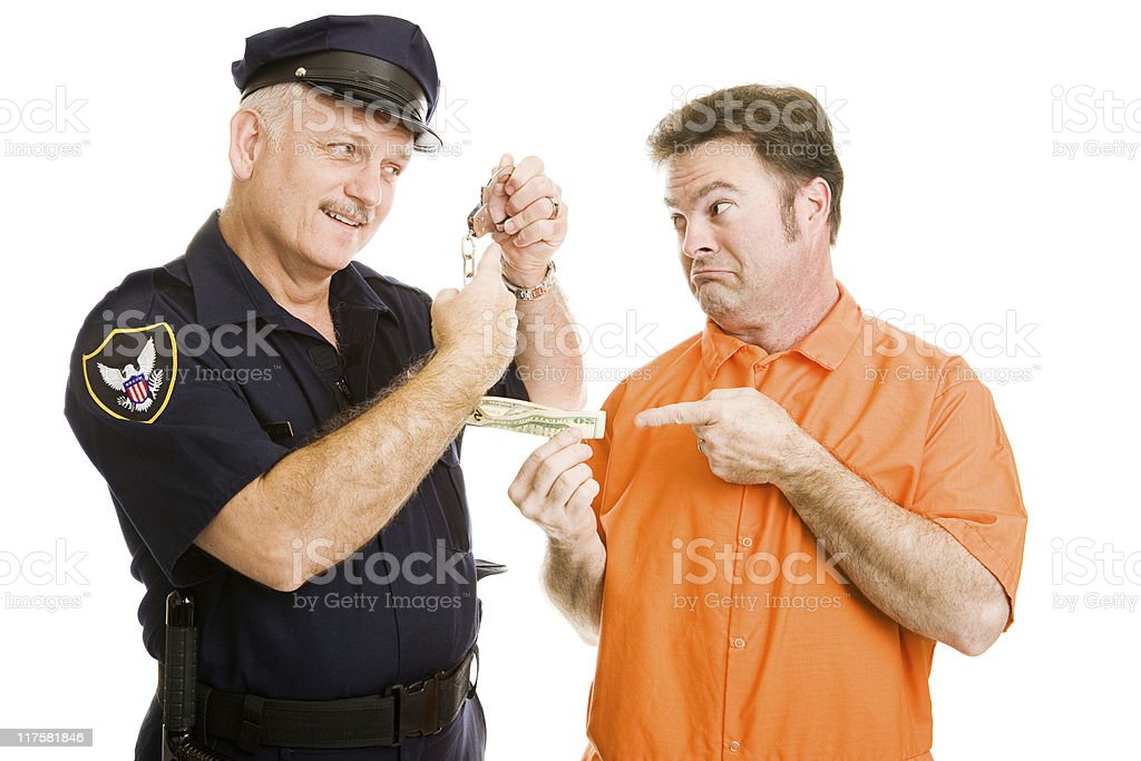 Police Officer Refuses Bribe royalty-free stock photo