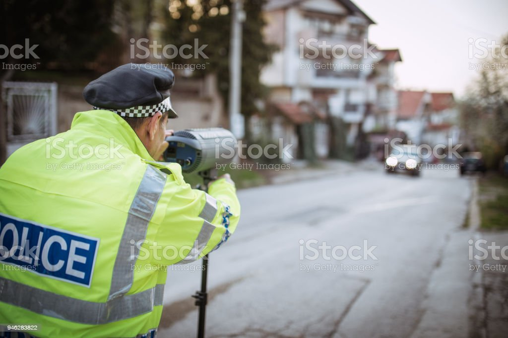 Police Officer Speed Trapping stock photo