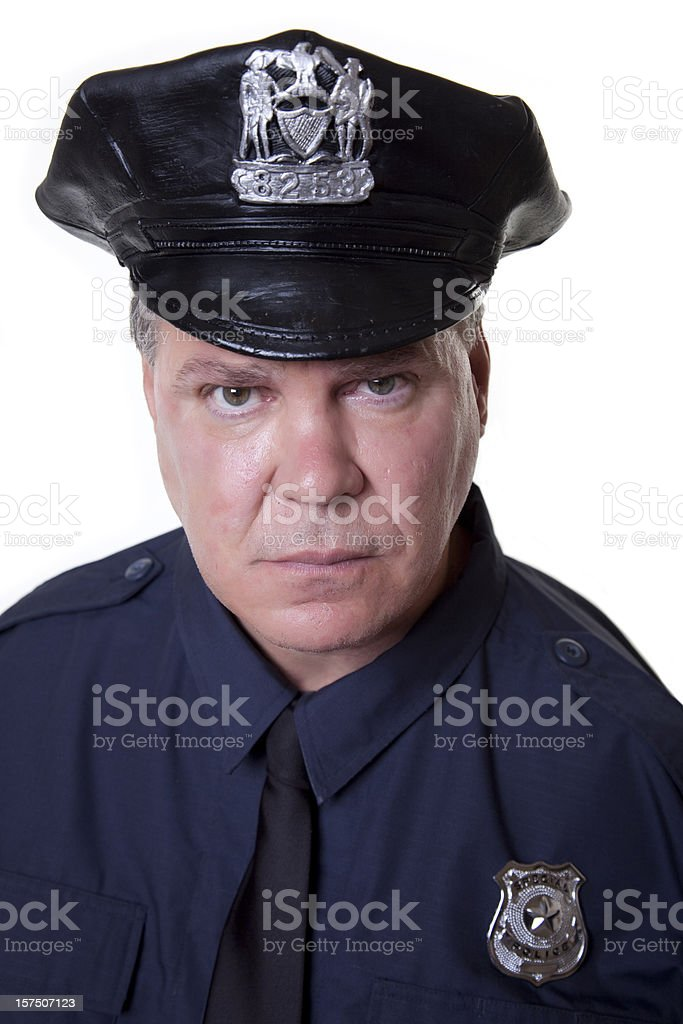 Police Officer Staring stock photo