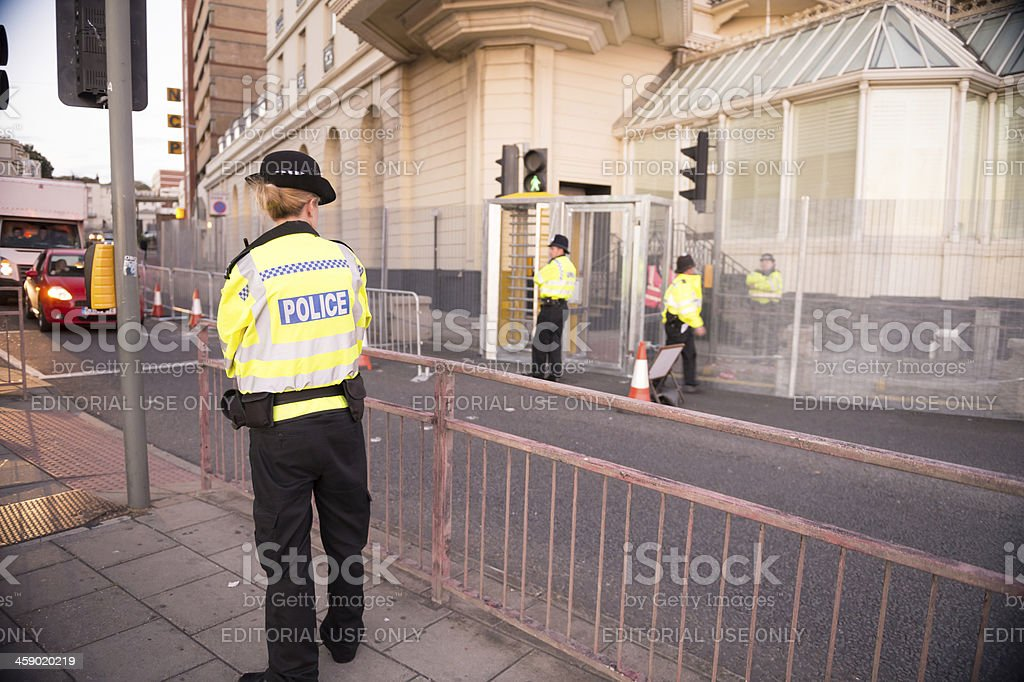 Police officers are guarding Liberal Democrats conference in Brighton, UK royalty-free stock photo