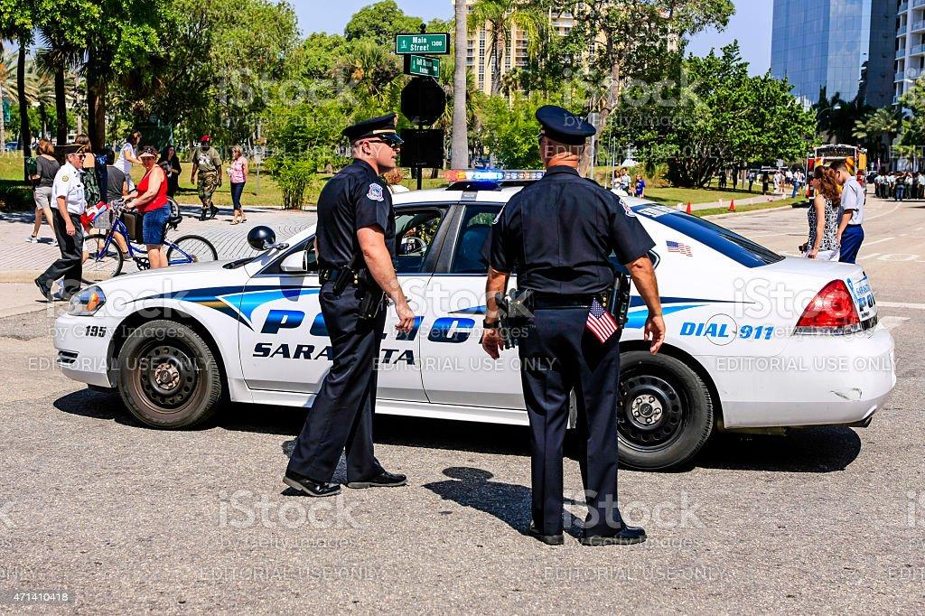 Police officers in Sarasota stock photo