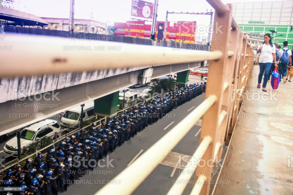 Police officers lining-up during the ASEAN Summit in Baclaran stock photo