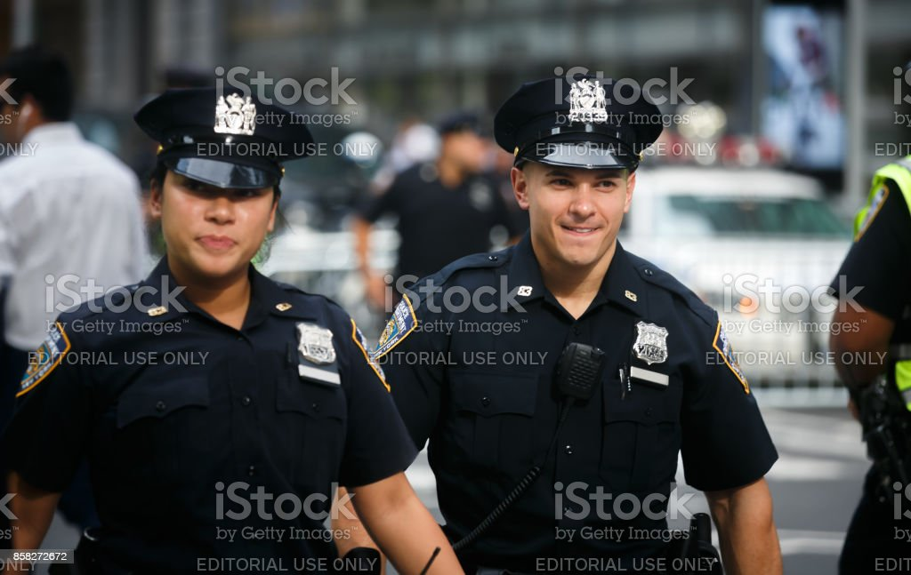 Police officers on the streets of Manhattan stock photo