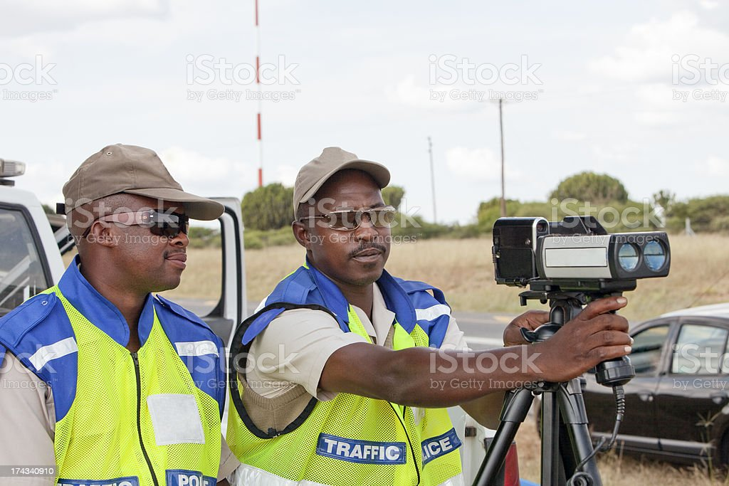 Police Officers Speed Trapping stock photo