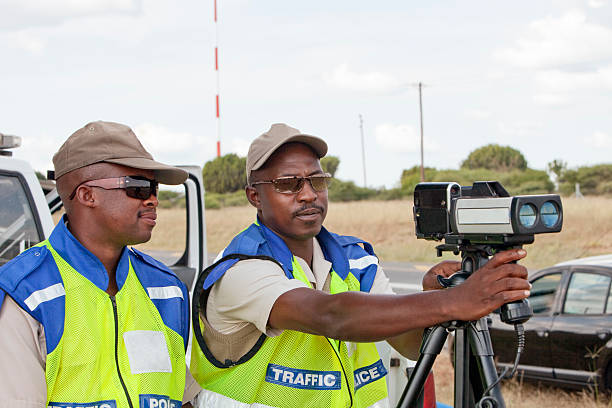 Police Officers Speed Trapping Police Speed Traps with radar cameras, on South African Highways transvaal province stock pictures, royalty-free photos & images
