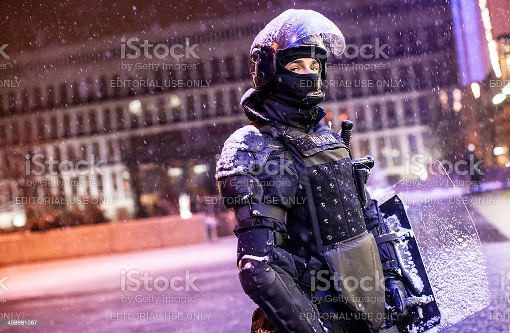 Police on demonstration in Slovenia royalty-free stock photo