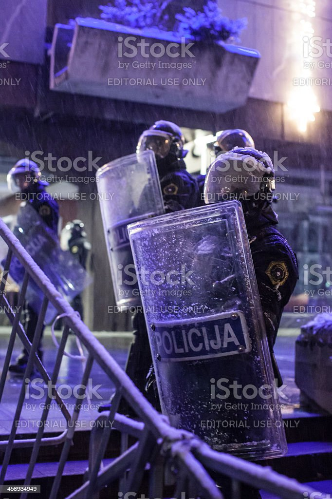 Police on demonstration stock photo