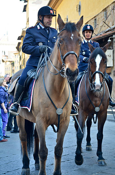 Police on horses stock photo