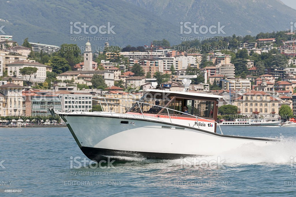 police patrol boat on Lake Lugano Ticino Switzerland royalty-free stock photo