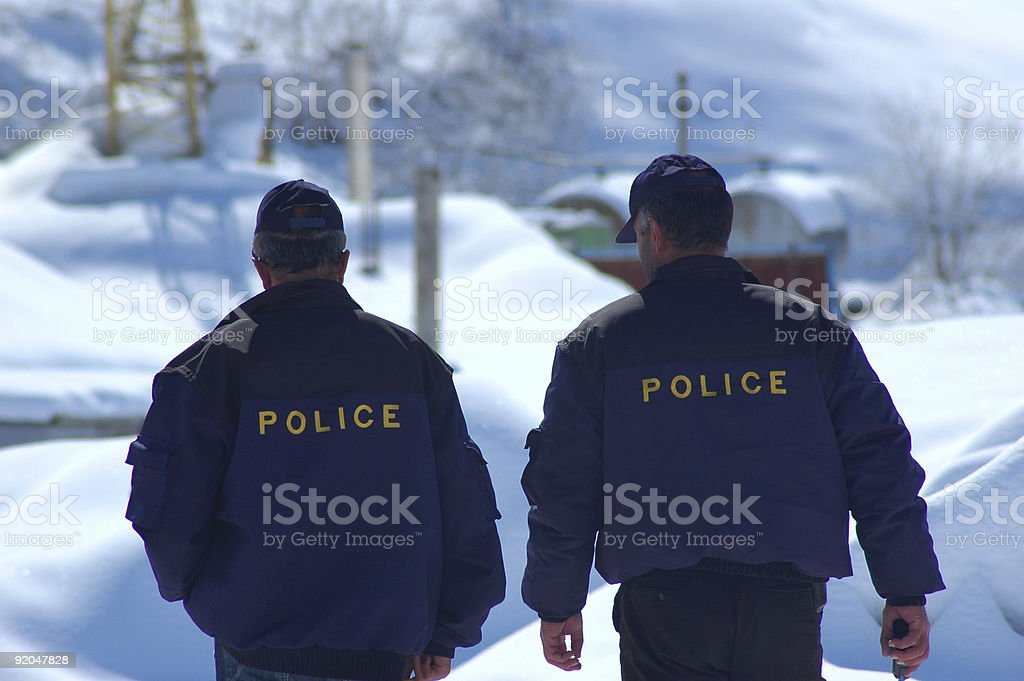 Police patrol in winter royalty-free stock photo