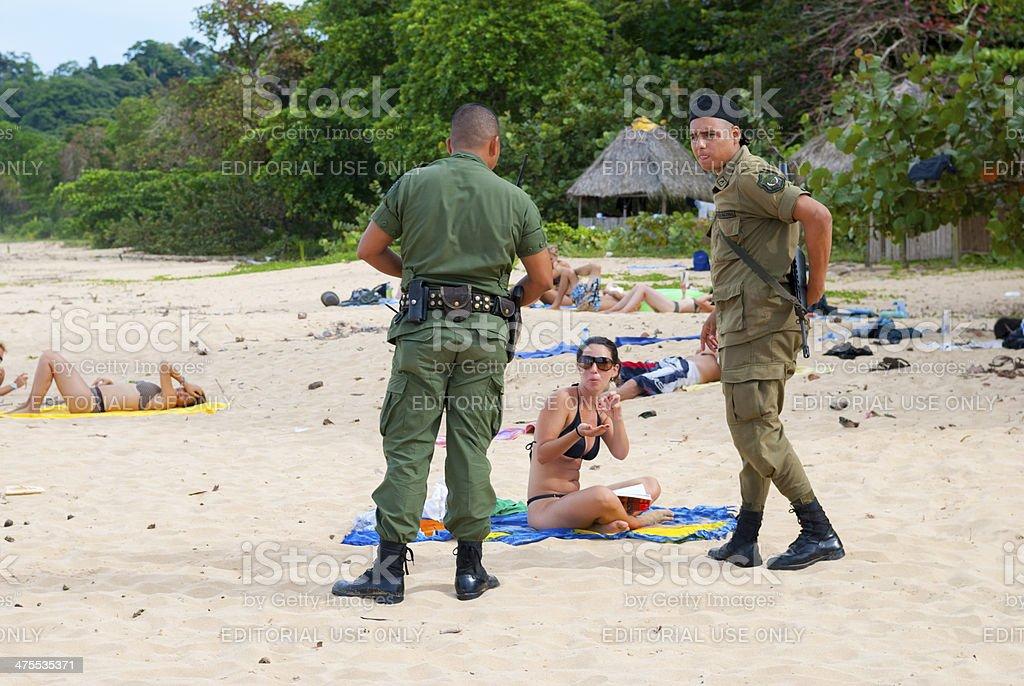 Police patrolling beach in Panama royalty-free stock photo