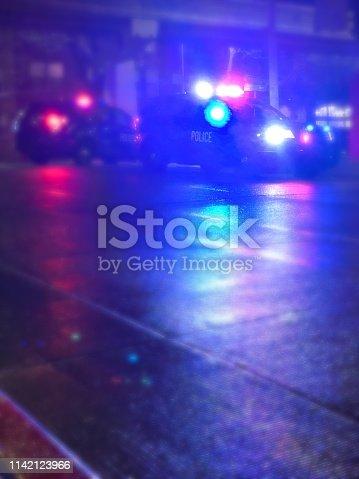 Police lights on a street.