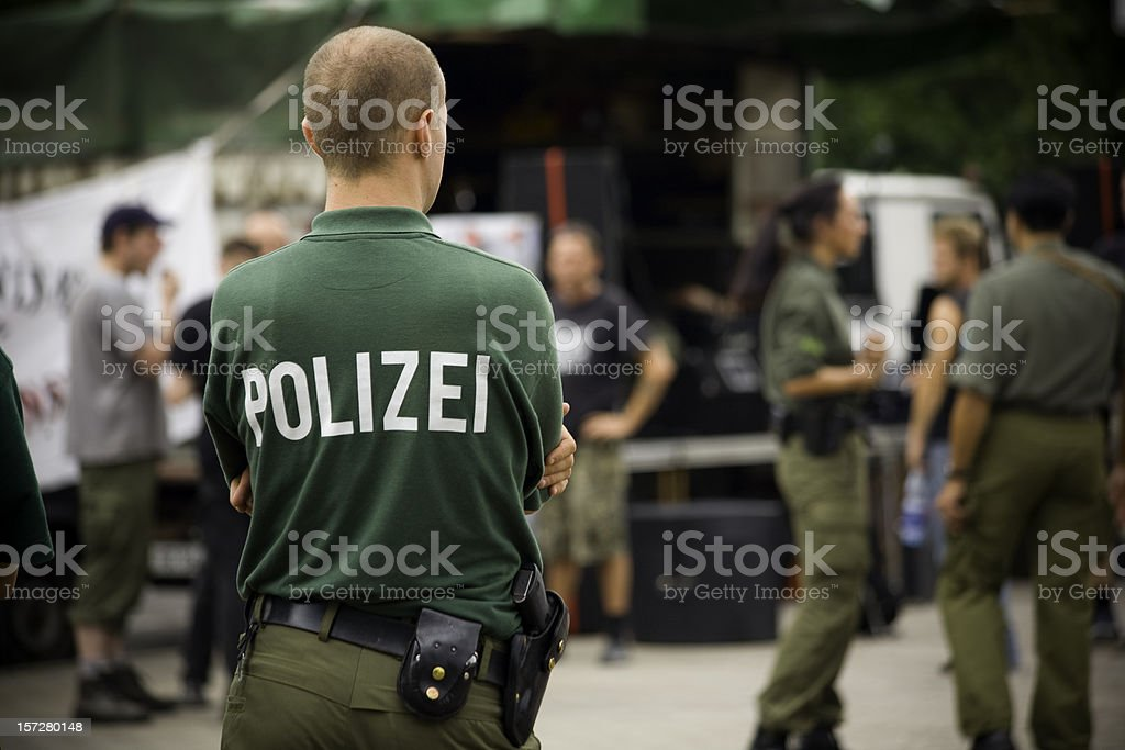 Polizei, policeman in Berlin royalty-free stock photo