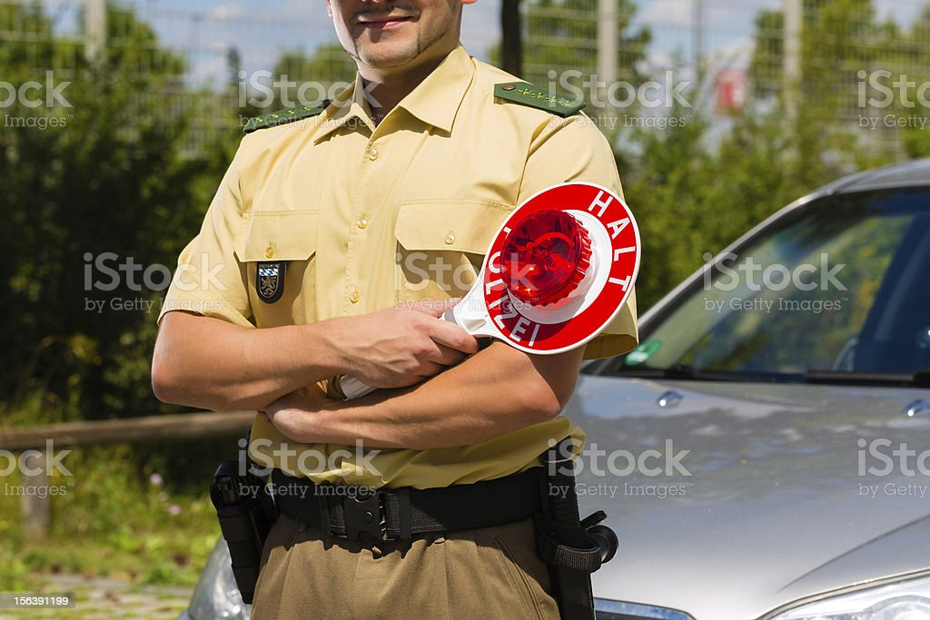 Police - policeman or cop stop car royalty-free stock photo