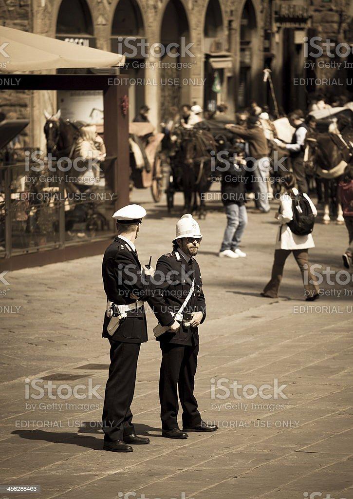Police post on the  Piazza della Signoria in Florence stock photo