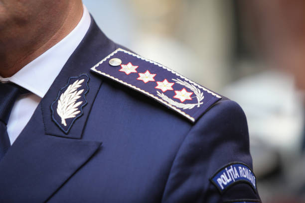 Police Quaestor-General insignia on epaulet Police Quaestor-General insignia on epaulet, chief of Romanian Police general military rank stock pictures, royalty-free photos & images