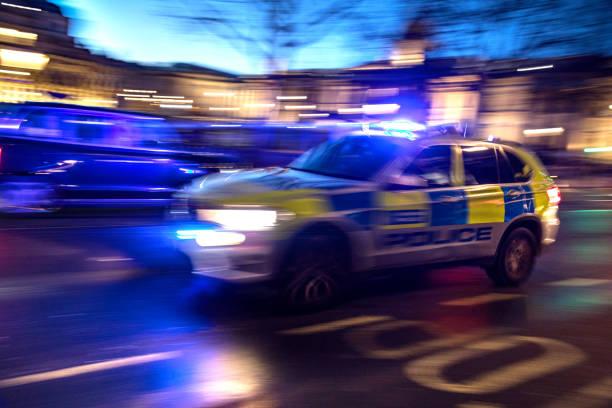 Police responding in London stock photo