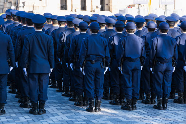 Police riot police protecting the peace of the city stock photo