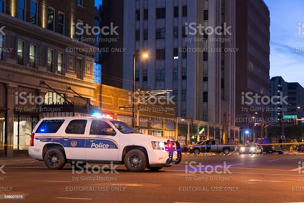 Police scene in Phoenix stock photo