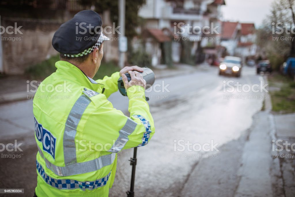 Police Speed Trapping On The Road stock photo