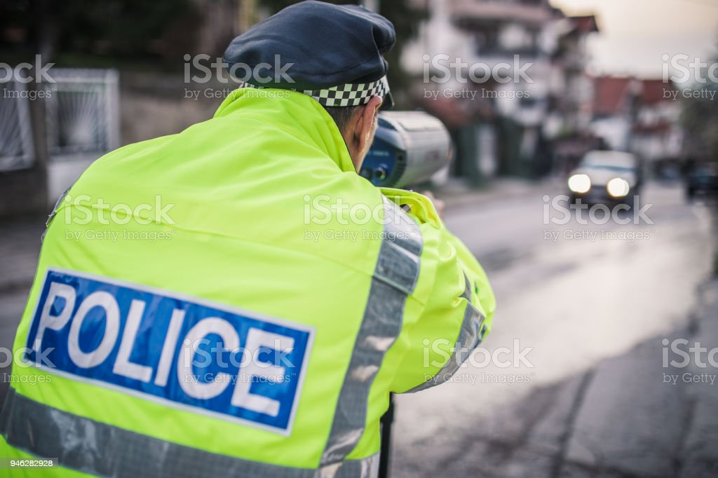 Police Speed Trapping stock photo