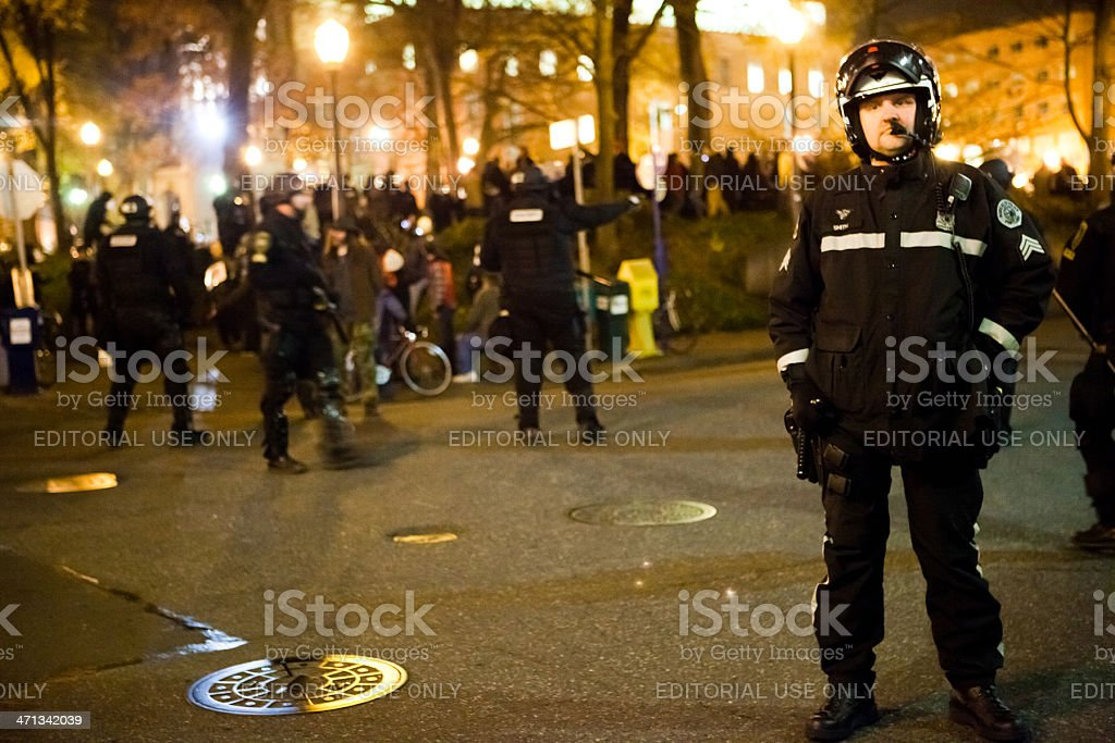 Police standing guard at Occupy Portland royalty-free stock photo