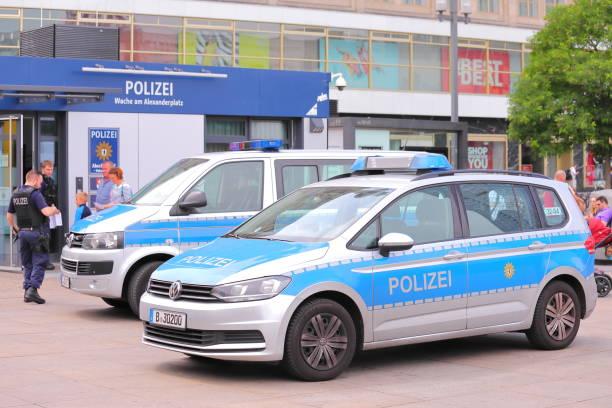 Police station Alexanderplatz square Berlin Germany stock photo