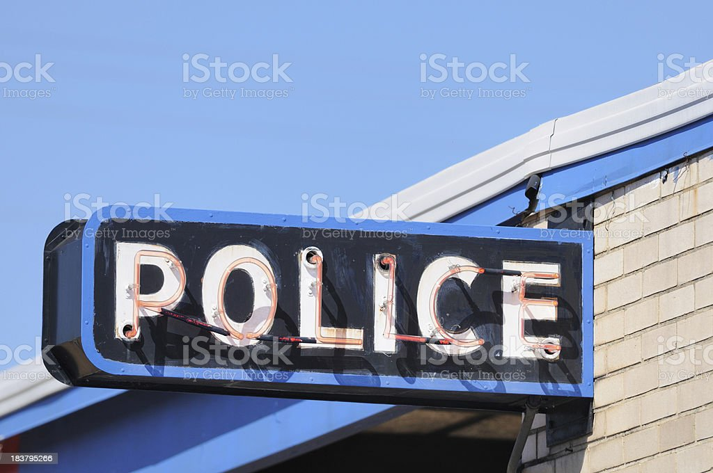 Police station sign close up royalty-free stock photo