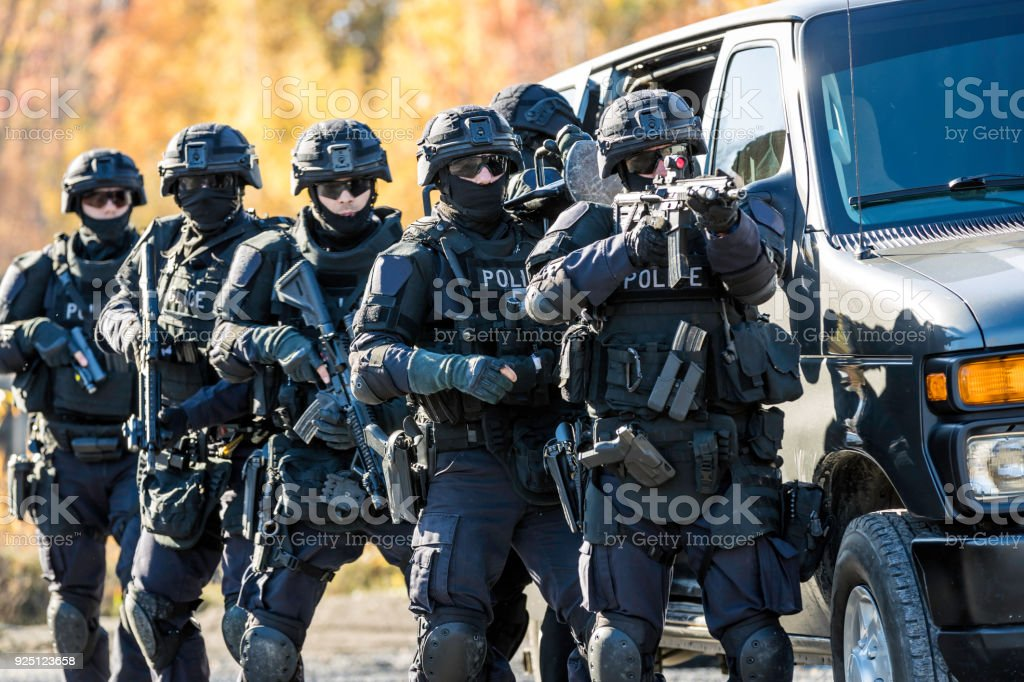 Police Swat Team at Work stock photo