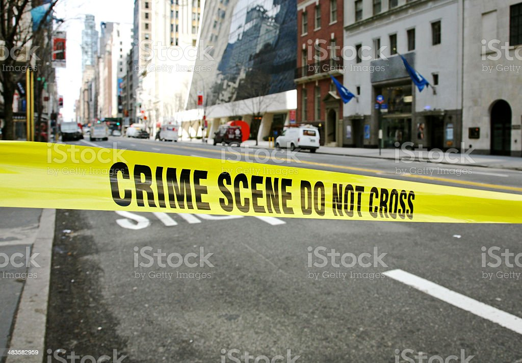 Police Tape Across New York Street royalty-free stock photo