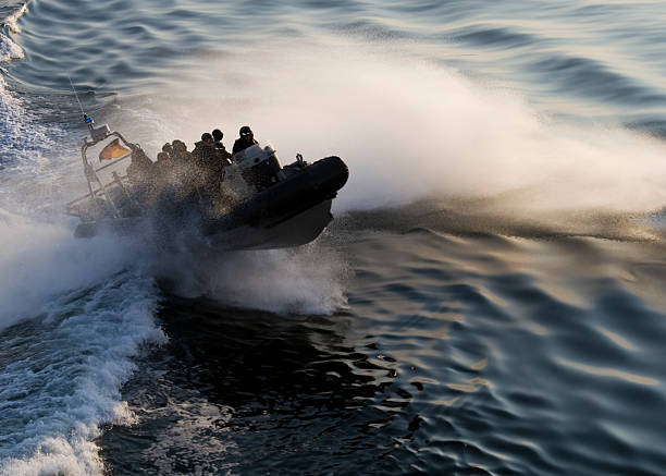 SWAT Police Team - Special Forces Boat at Speed stock photo