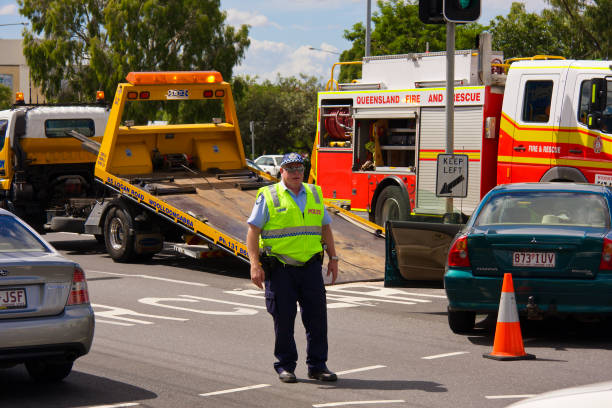 Police, tow truck and firebrigade stock photo