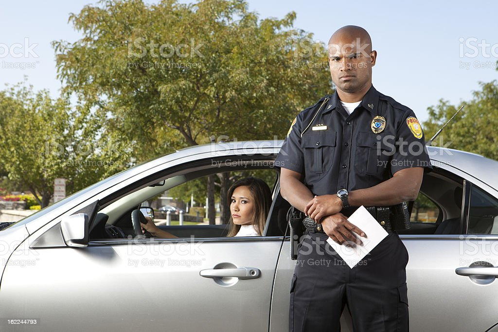 Police Traffic Stop Displeased Woman stock photo