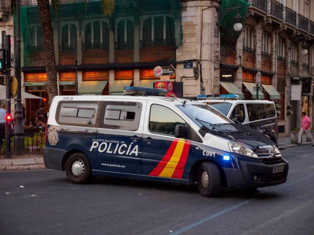 Police van during routine patrol, Valencia, Spain stock photo