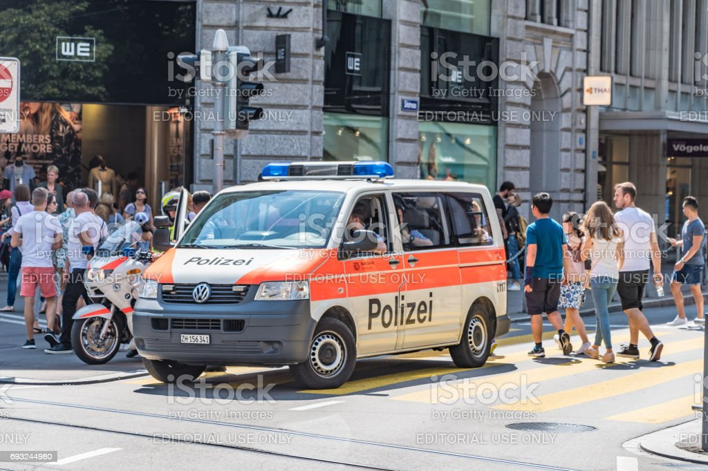 Police van in Zurich city center stock photo
