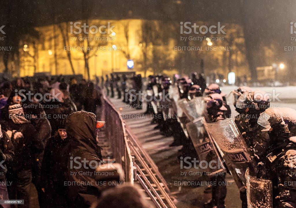 Police versus people stock photo