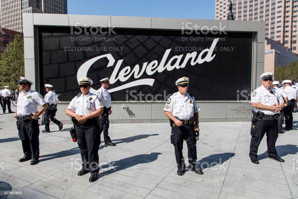 Police with Cleveland Sign Behind them at RNC 2016 stock photo