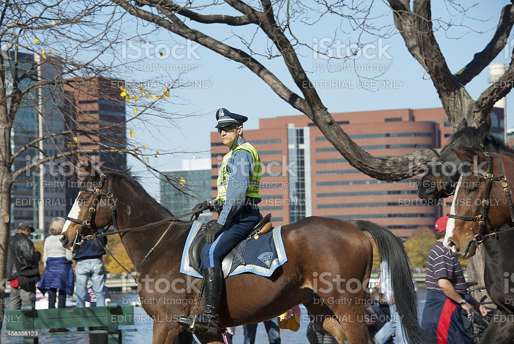 Police with rowds at parade of Red Sox championships stock photo