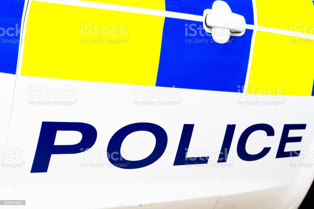 Police word on car door stock photo