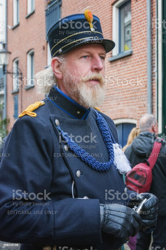 Policeman acting during the Dickens Festival in Deventer stock photo