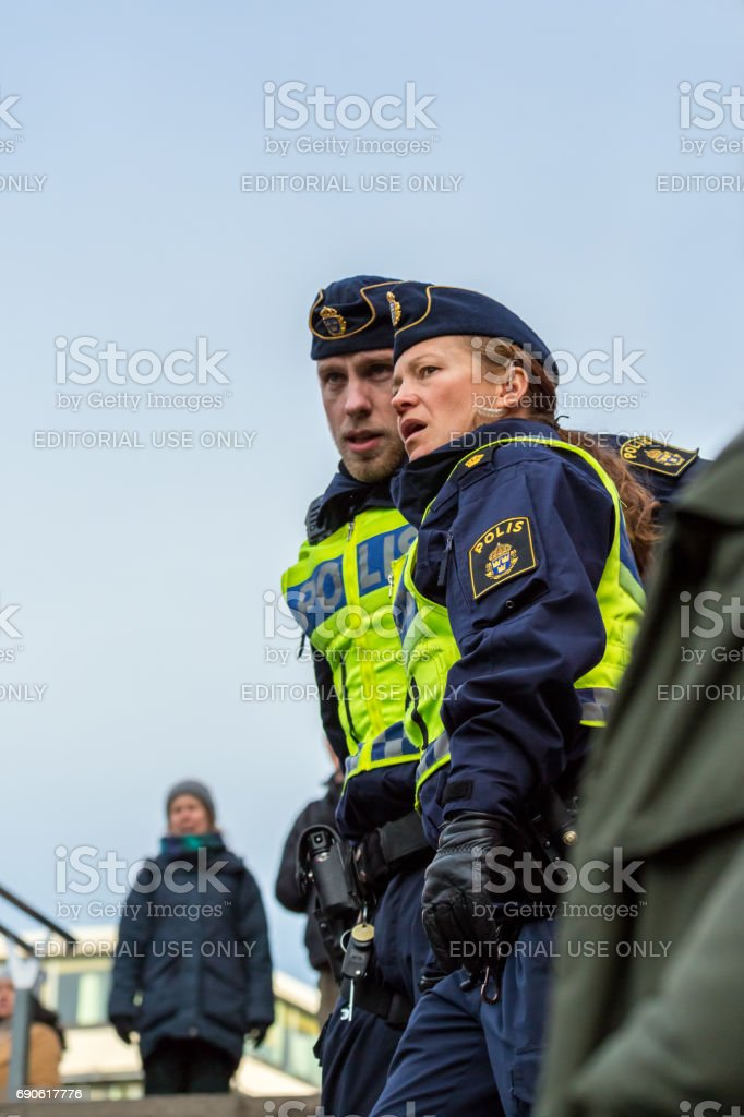 Policeman and police woman. stock photo