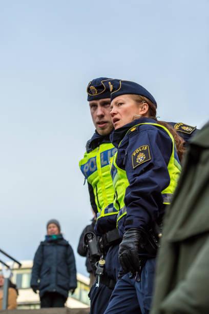 Policeman and police woman. stock photo