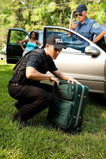 Policeman checking woman's luggage during vehicle search Policeman checking woman's luggage during vehicle search  MORE LIKE THIS.. in lightboxes below. smuggling stock pictures, royalty-free photos & images