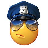 Policeman emoji isolated on white background, cop emoticon